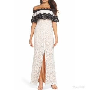 Harlyn Off-The-Shoulder Lace Gown Front Slit Dress
